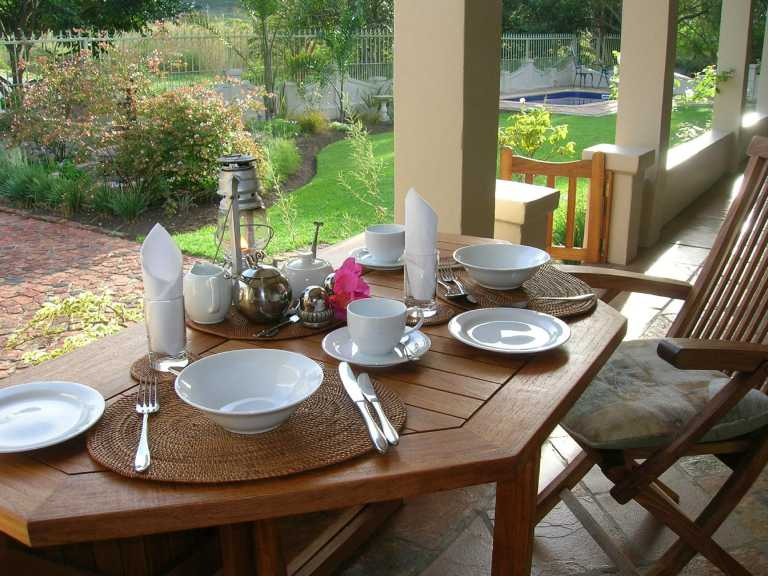 Breakfast table setting at The Old Trading Post Guesthouse