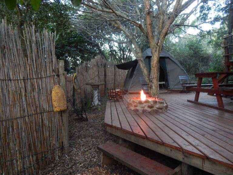 deck with camp fire